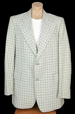 Vintage Light Blue Plaid Suit Jacket Coat Sportcoat Blazer Retro Mens Tall 42L