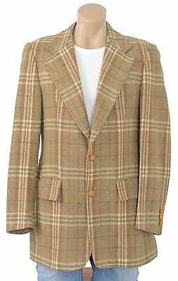 Vintage 60s 70s Wool PLAID Sportcoat Blazer Suit Jacket Coat Retro Hipster Mens