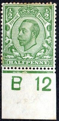1912 SG 344 ½d green Control B 12 (c) Royal Cypher Mounted Mint - some foxing