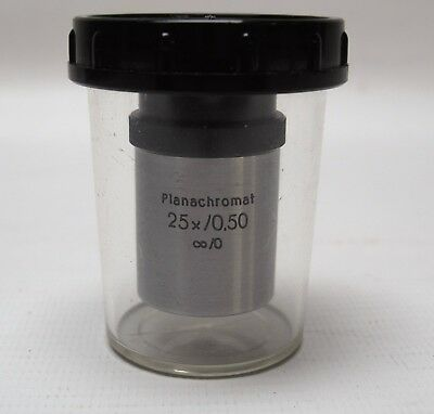 Carl Zeiss Planachromat 25X/0.50 inf/0 Microscope Objective Lens Used for Demo's