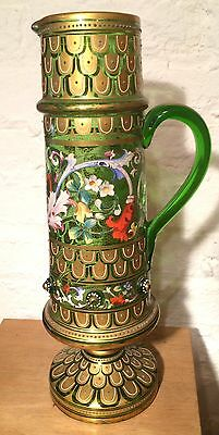 Beautiful Antique Green, Footed Moser Tankard