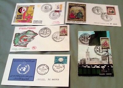Algeria Postal History Items, 3 First Day Covers & 2 Postcards From 1954 & 1963.