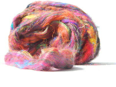 4oz Bag Ready for Spinning Sari Silk Fiber - Carded - Sliver Form - Multi Colors
