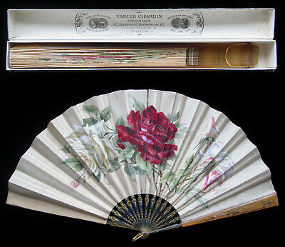 Antique Carved Horn & Signed Handpainted Fan Eventail Abanico c 1895 CHARDIN Box