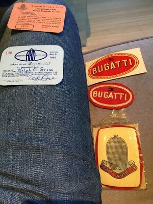 Vintage Bugatti Owners Club Decals Membership Cards Patch Etc