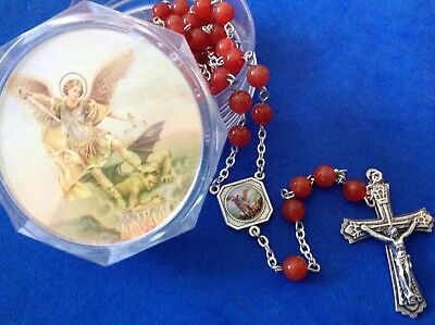 Custom Archangel St Michael CARNELIAN Gemstone Rosary and Case Hand Crafted 6mm