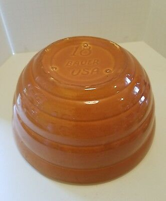 Bauer Pottery Vintage Ring Wear Large Bowl 18 Pumpkin Orange Nesting
