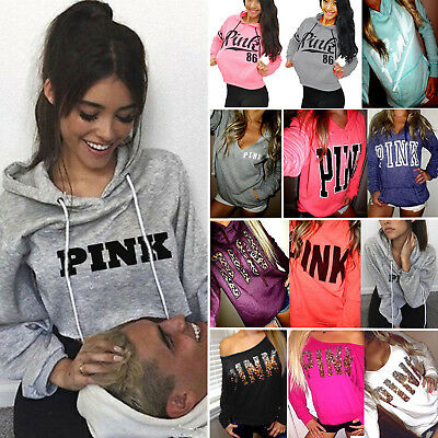 PINK Women Long Sleeve Hoodie Sweatshirt Jumper Sweater Pullover Blouse Tops New