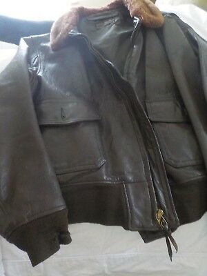Vintage Leather Navy Flight Jacket~No Patches~46