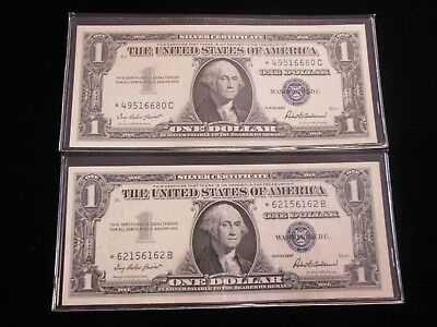 Lot Of 2 Star Notes 1957 Dollar Blue Seal Silver Certificate UNC - NO RESERVE