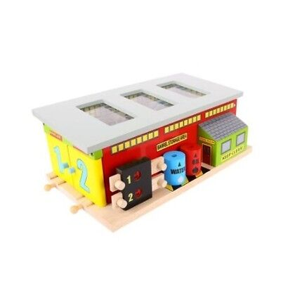 BigJigs Bell Train Service Shed BJT225 Wooden Railway Preschool Toys