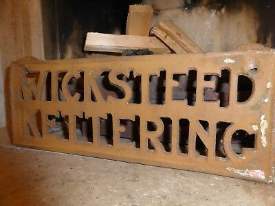 Vintage Heavy Metal Iron Plaque Stand With The Name Wicksteed Kettering