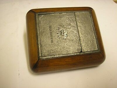 Ransome 's Patent Travel Folding Inkwell  De La Rue  c1900  Wood Frame Pewter
