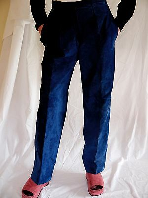 Yves Saint Laurent YSL Rive Gauche 80s Blue Suede Women's Trousers. High-waisted