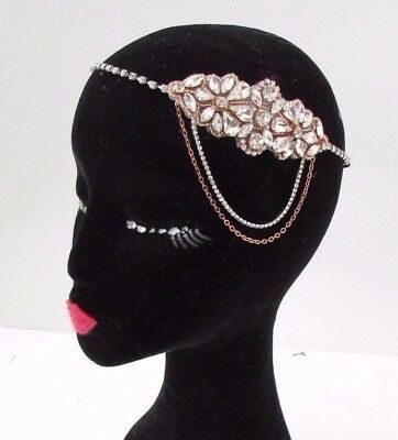 Silver Rose Gold Chain Headpiece 1920s Headband Great Gatsby Flapper Vtg 4290