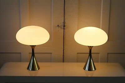 Pair of Mid Century Modern Laurel Mushroom Lamps Brass Bases Large