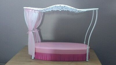 barbie pink four poster bed teen doll house furniture curtains