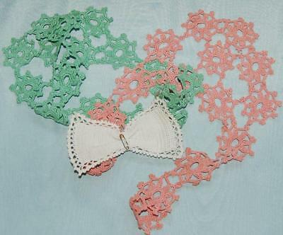 2 Antique Hand Crocheted Collars & Bow Brooch Pink Green White c1920-30s