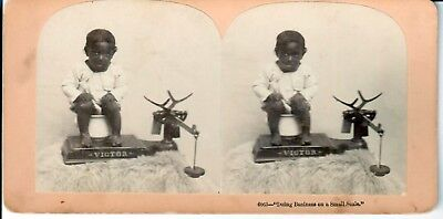 """Boy sitting on Chamber Pot, with Scale. """"Doing Business on a small Scale"""" Stereo"""