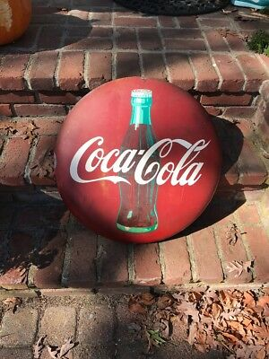 "Vintage 1950s Coca Cola Button Soda Pop Bottle Gas Station 24"" Curved Metal Sign"