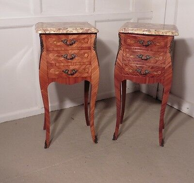 A Pair of Inlaid French Marquetry and Marble Bombe Shaped Bedside Cupboards