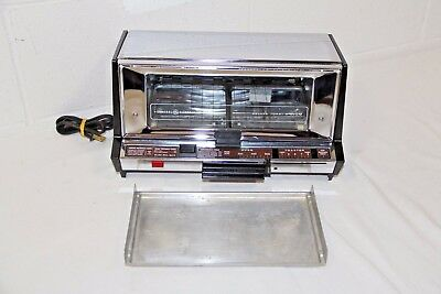 Vintage SHINY GE Deluxe Toaser Oven Broil Chrome w Tray A9T93B, CLEANED, Works!!