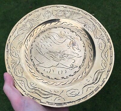 Oriental Brass Antique Chinese Dragon Wall Plate