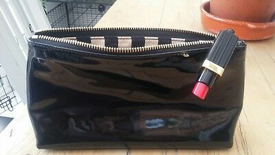 Lulu Guiness black patent make up bag with lipstick trim