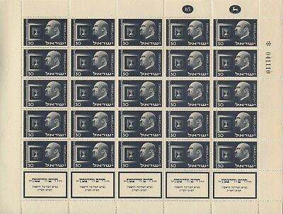 Israel, 2 MNH Sheets, in commemoration of Weizman, 1952, MNH.