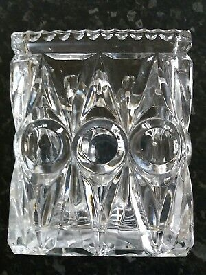 vintage square thick cut glass vase
