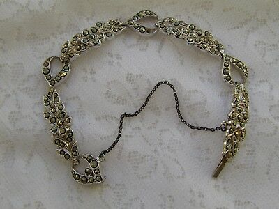 1950s articulated white metal marcasite-set panel bracelet with push clasp