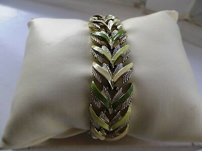 1950s Jewelcraft articulated enamel leaves bracelet with safety chain.