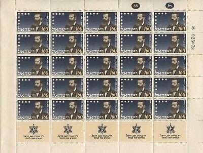 Israel, 50th Anniversary of Death of Herzl, 1954, Complete Sheet, MNH.