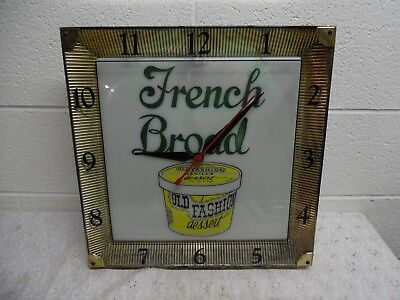 Rare Vintage French Broad Old Fashioned Dessert Lighted Advertising Clock, Works