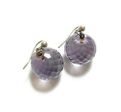 Stunning Old Antique Edwardian Faceted Amethyst Glass Bead Drop Earrings (B20)