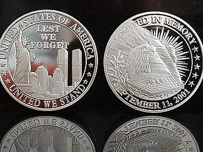 Silver Lest We forget United We Stand America 911 twin towers remembrance coin