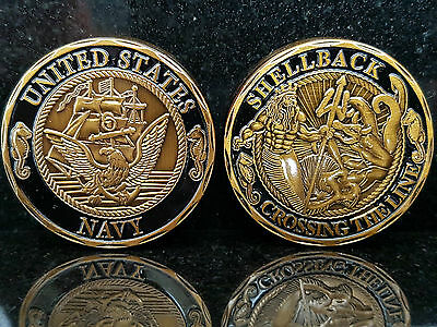Crossing The Line U.s. Navy Challenge Coin Defend Obey Faith True Shellback Usa