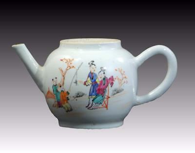Antique 18Th Century Chinese Qianglong Porcelain Teapot Painted Enamels