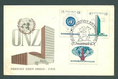 POLAND - 1957 First Day Cover - UNITED NATIONS