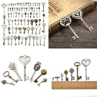 80 Pack Antique Vintage Old Lock Keys Lot Brass Bronze DIY Skeleton Keys Set