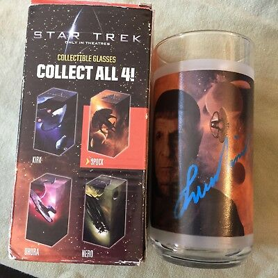 Leonard Nimoy Autographs Star Trek Collectible Drinking Glass Nr Spock Signs