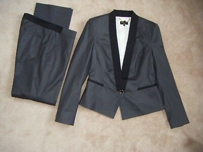 TED BAKER Langley Grey Wool Blend Caidi Tailored Tux Trousers Suit size TB3 UK12