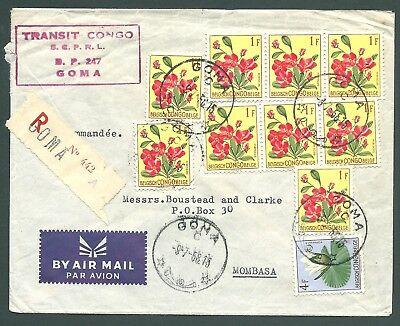 BELGIAN CONGO - 1958 REGISTERED cover - Goma to Mombasa
