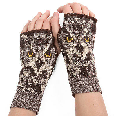 BROWN OWL Handwarmers, Knitted Pair, by Green3 Apparel