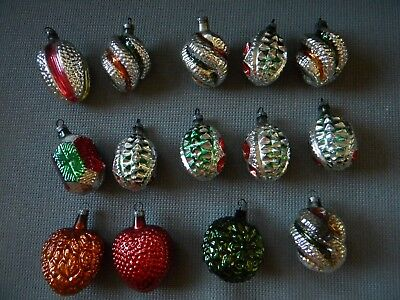 14 Vtg Christmas Glass Ornaments Pinecone Strawberry Heart Twist Indent Lantern