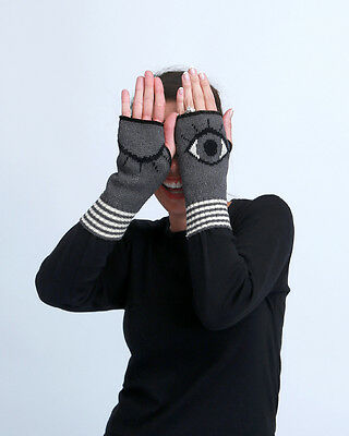 BIG EYES Open/Closed Handwarmers, Knitted Pair, by Green3 Apparel