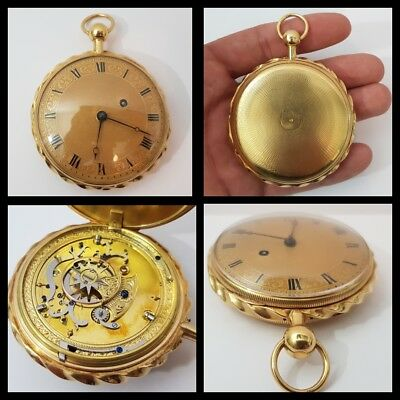 rare antique oversized solid 18ct gold verge quarter repeater pocket watch c1790