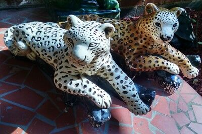 Big Cats Jungle Leopards Rare Wild Pair Vtg Chalkware Statues Figures MEXICO 33""