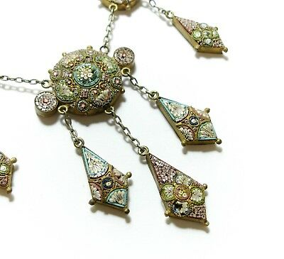 Beautiful Old Antique Victorian Micro Mosaic Italian Grand Tour Necklace (B25)