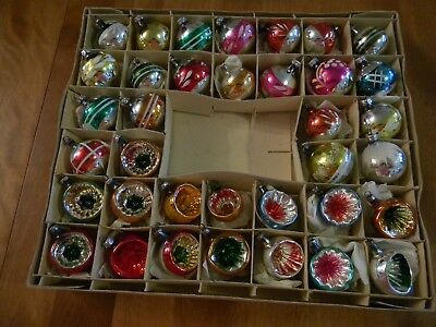 36 Vtg Small Christmas Glass Ornaments East Germany, Etc. Mica, Indent,